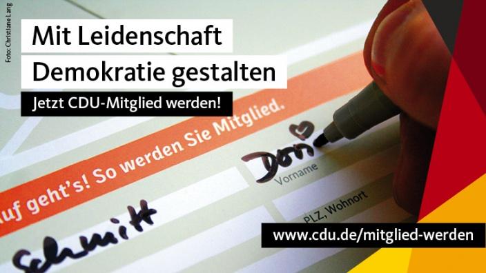 Foto: Mitglied werden, Copyright: CDU Deutschlands