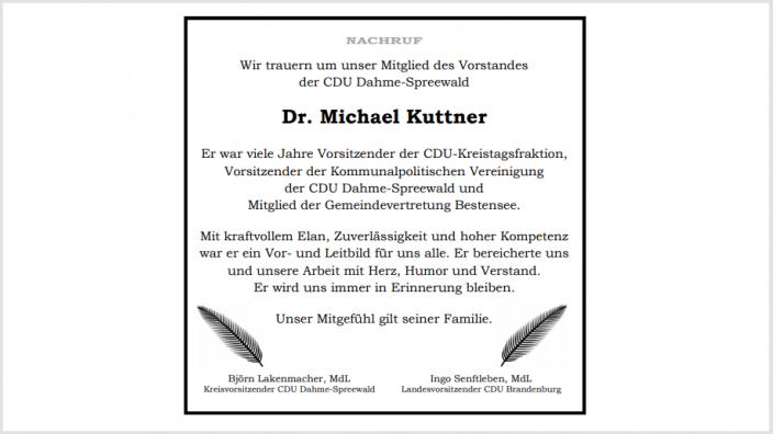 Nachruf Dr. Michael Kuttner